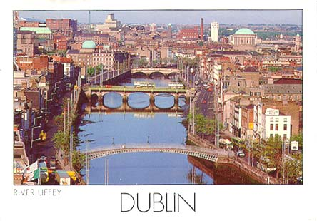 postcards river liffey dublin ireland. Black Bedroom Furniture Sets. Home Design Ideas