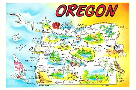 Oregon Map Image.Postcards Oregon U S A Map